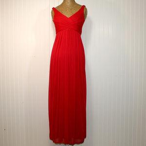 DAVID'S BRIDAL Cherry Red Back Drape Long Dress